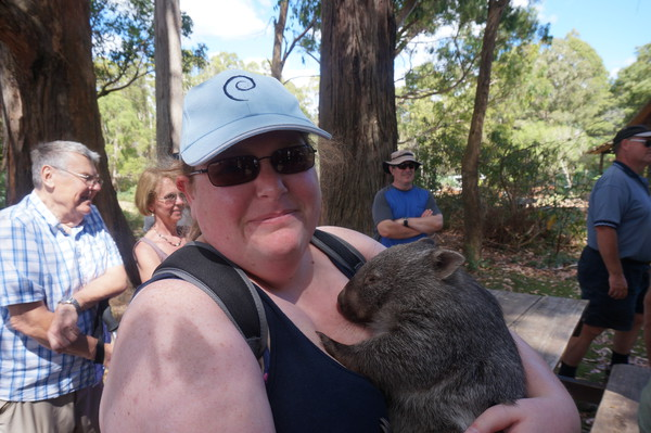 Cuddling a sleepy wombat!